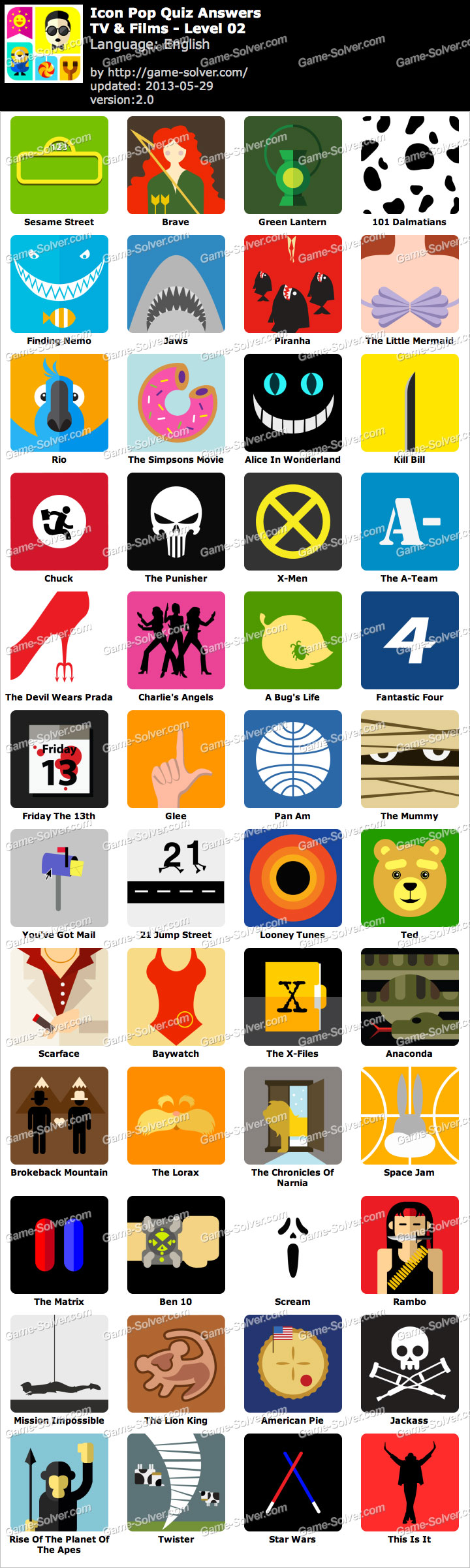 Icon Pop Quiz TV and Films Level 2
