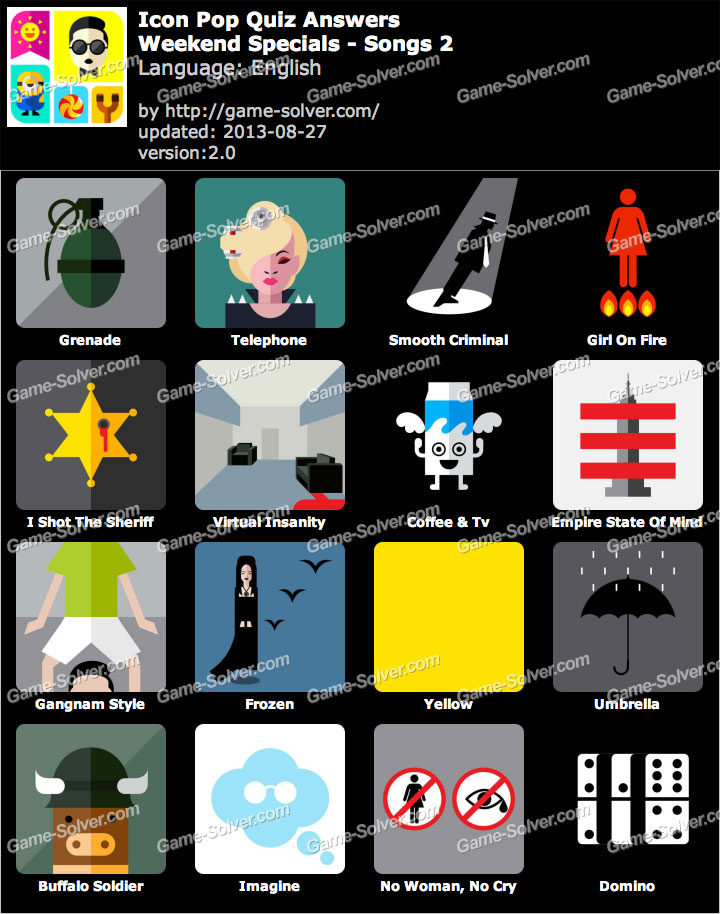 Icon Pop Quiz Weekend Specials Songs 2