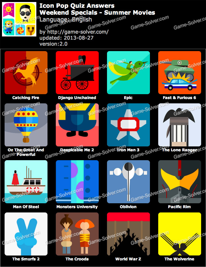 Icon Pop Quiz Weekend Specials Summer Movies