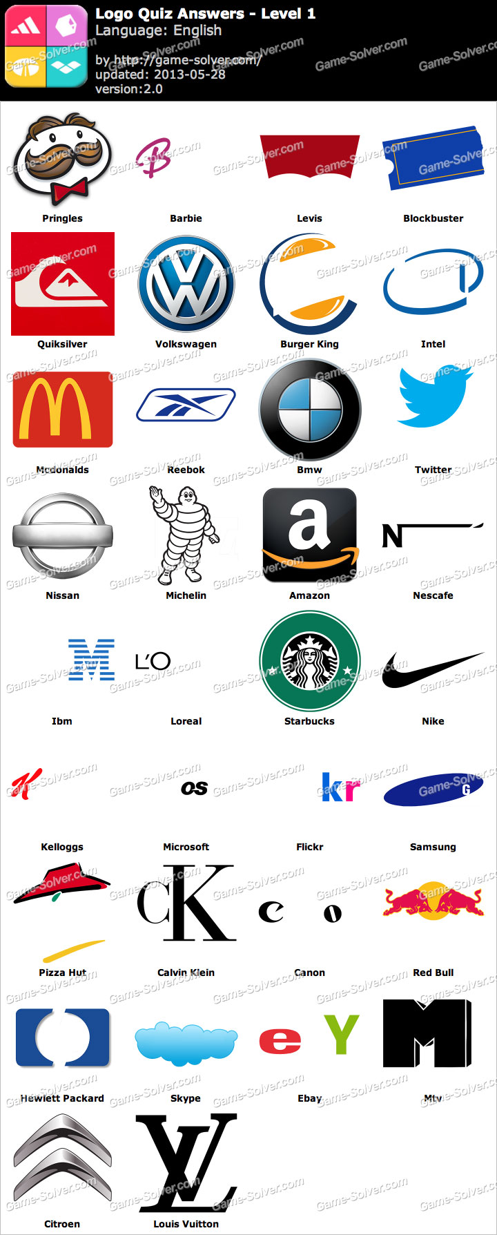 Logo Quiz Game Answers Level 1