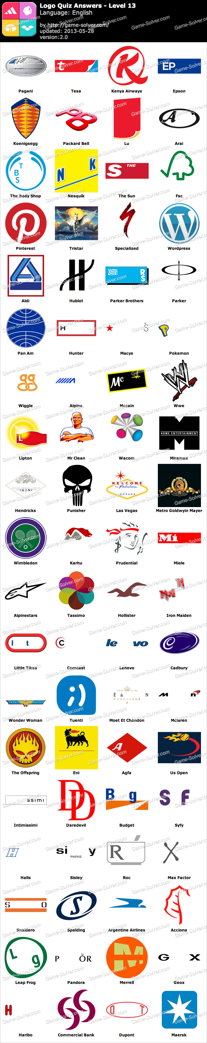 Logo Quiz Level 13 Word List