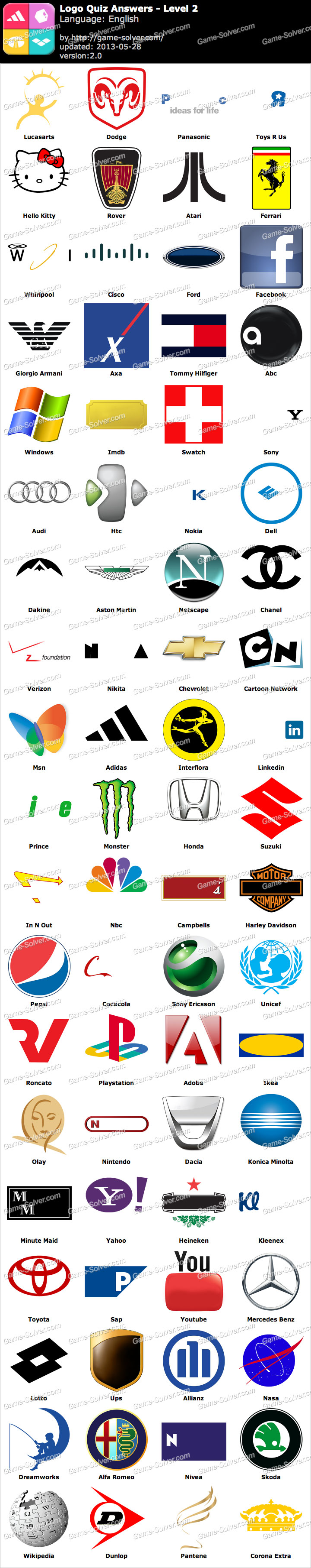 Logo Quiz Level 2 Word List