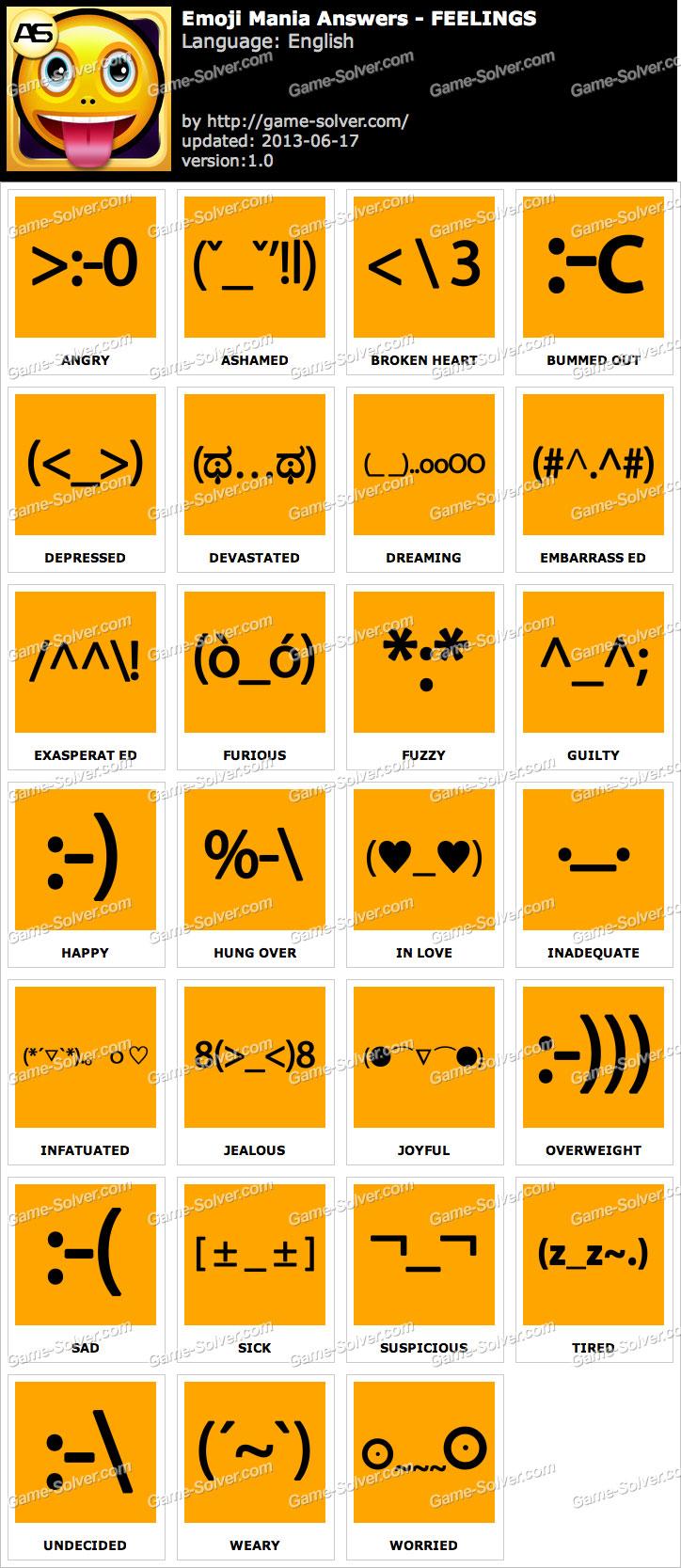 emoji mania feelings answers