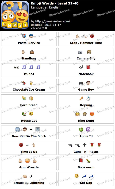 Emoji Words Level 21-40 - Game Solver