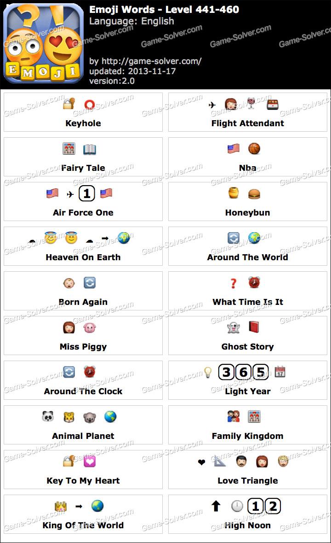 Emoji Words Level 441-460 - Game Solver