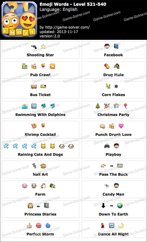 Emoji Words Level 521-540 - Game Solver