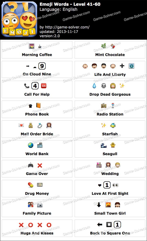Emoji Words Level 41-60 - Game Solver