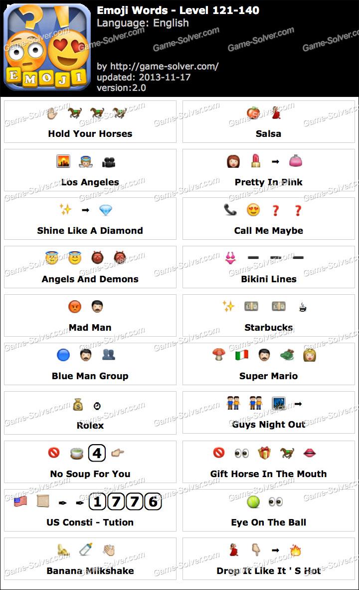 Emoji words level 121 140 game solver