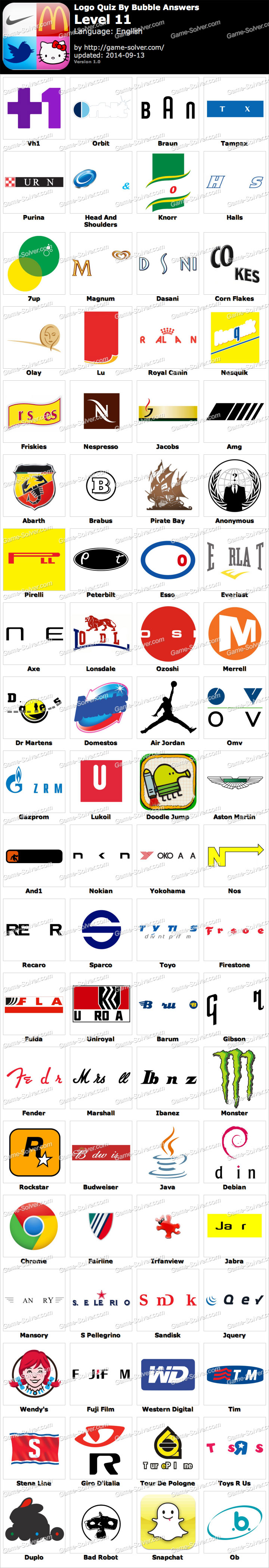 logo quiz by bubble answers level 11 game solver