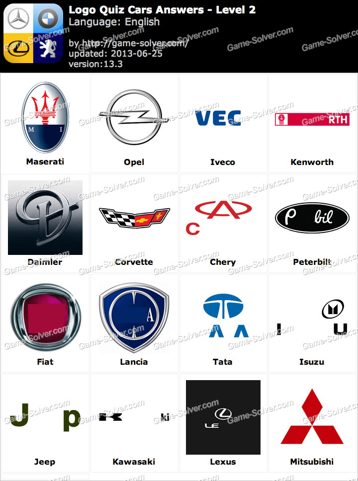 Logo Quiz Cars Answers Level 2 - Game Solver Level 2 Logo Quiz Answers