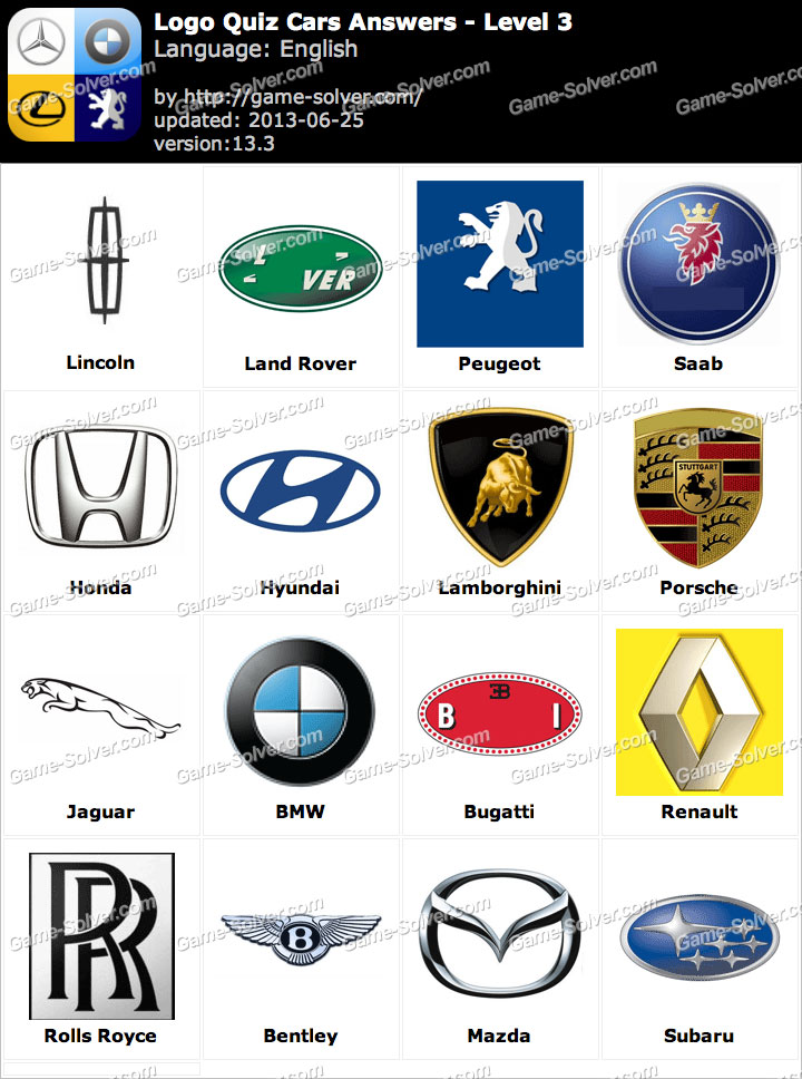 Logo Quiz Cars Answers Level 3 Game Solver