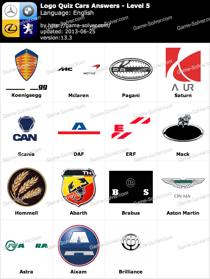 Logo Quiz Cars Answers Level 5 - Game Solver Cars Logos Quiz Answers