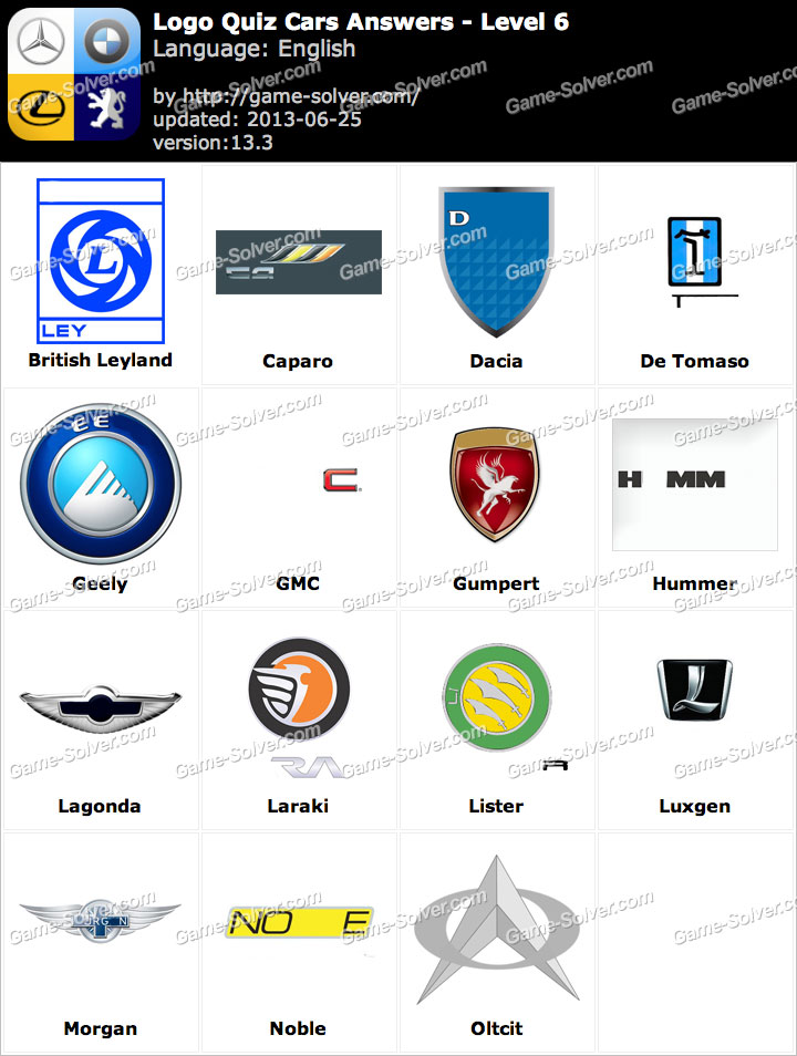 Logo Quiz Cars Answers Level 6 - Game Solver