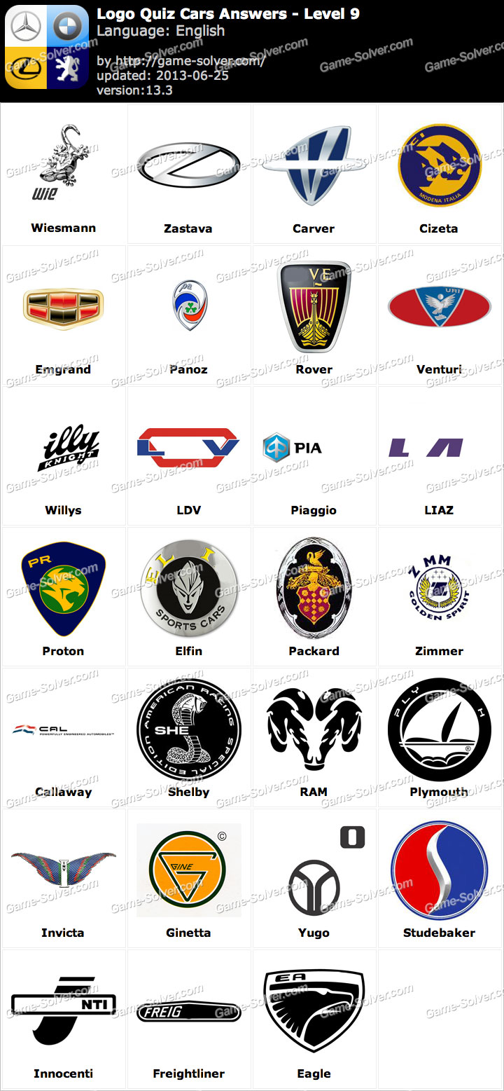 Logo quiz cars answers level 9 word list