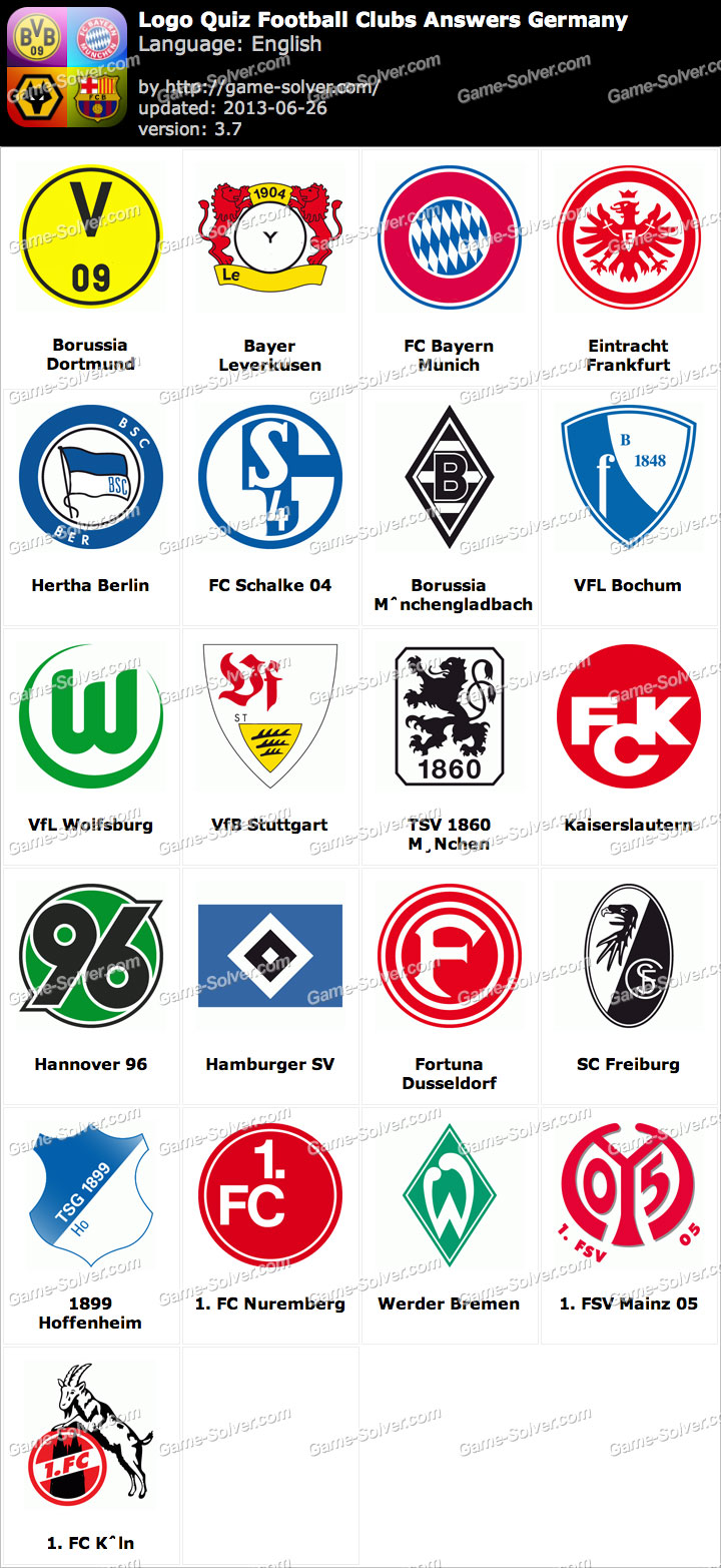 Exceptionnel Logo Quiz Football Clubs Answers Germany - Game Solver PM38
