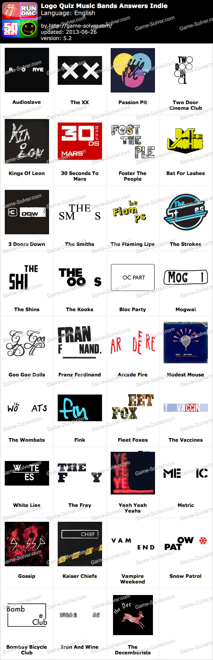 logo quiz music bands answers indie game solver