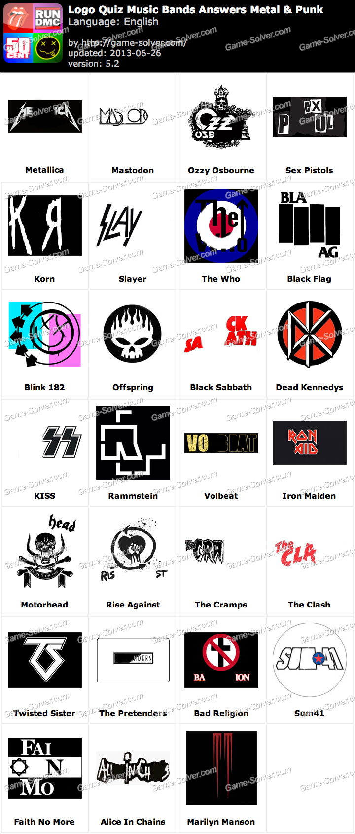 Rock Music Bands Logo Quiz Answers