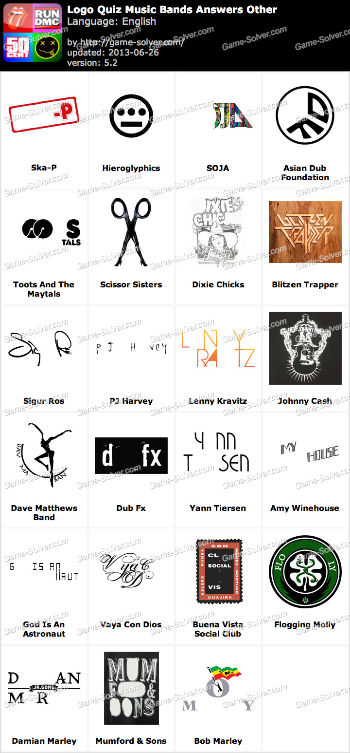 Logo Quiz Music Bands Answers Other - Game Solver