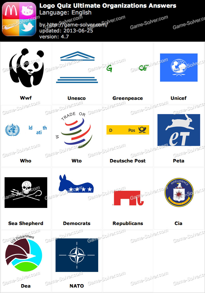 Logo Quiz Ultimate Organizations Answers - Game Solver
