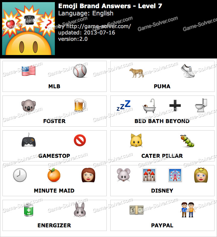 <b>Emoji</b> Brand <b>Level 7</b> - <b>Game</b> Solver