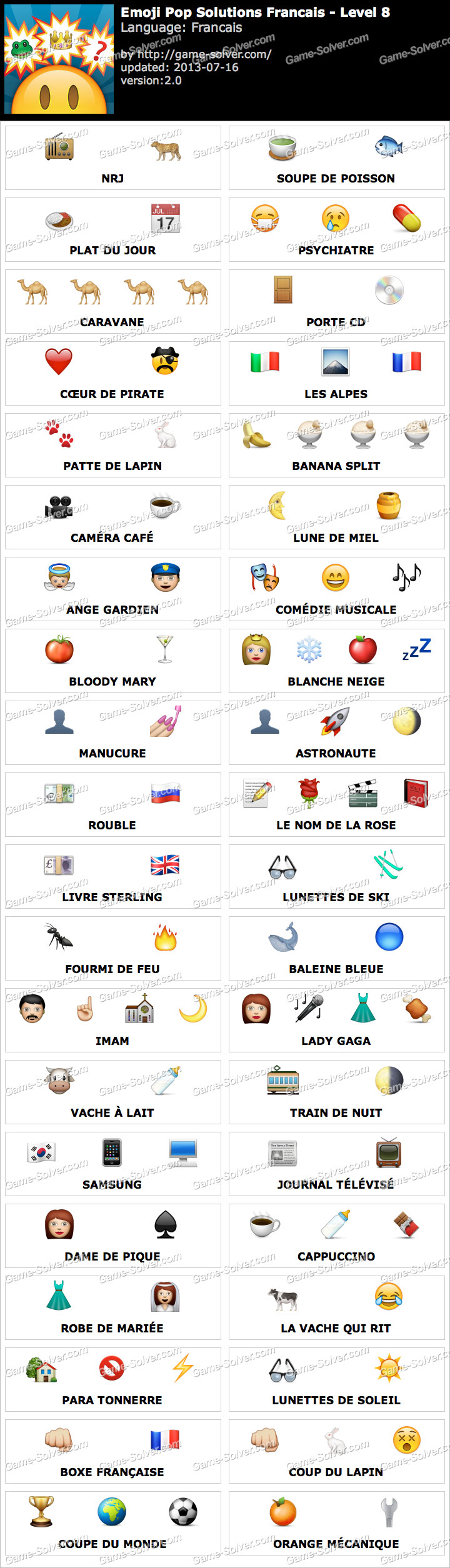 Fabuleux Emoji Pop Niveau 8 - Game Solver JB24
