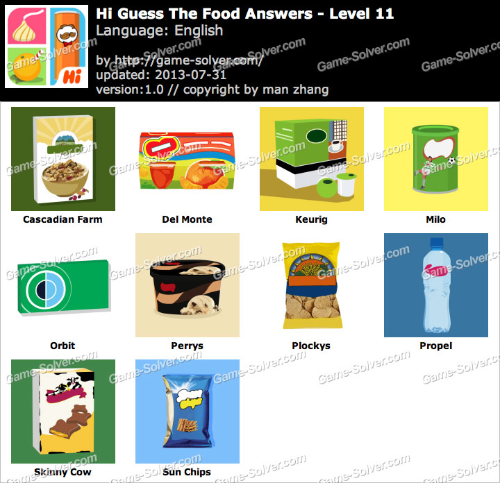 Hi Guess the Food Level 11 - Game Solver
