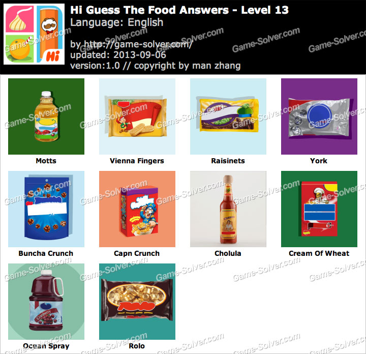 Hi Guess the Food Level 13 - Game Solver