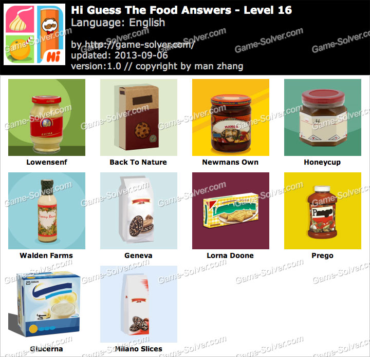 Hi Guess the Food Level 16 - Game Solver
