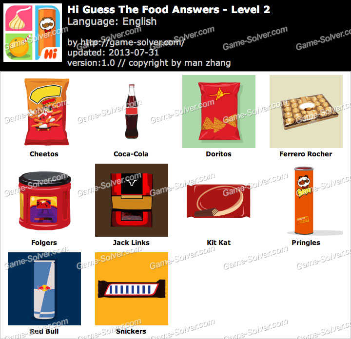 Hi Guess the Food Level 2 - Game Solver