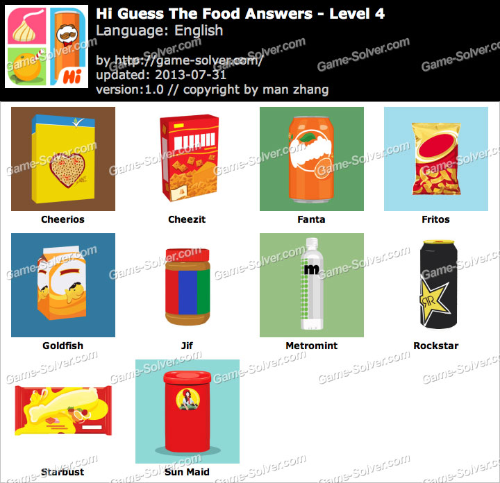 Hi Guess the Food Level 4 - Game Solver