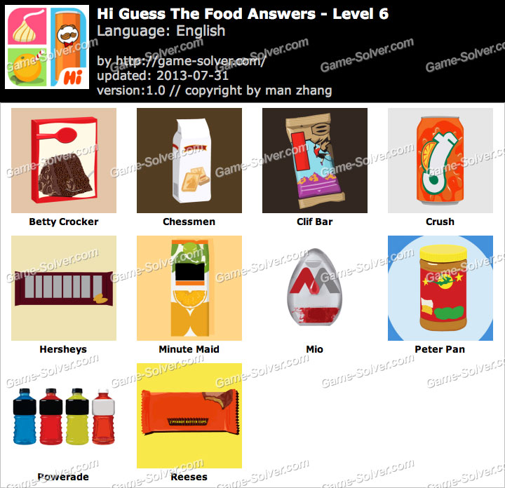 Hi Guess the Food Level 6 - Game Solver