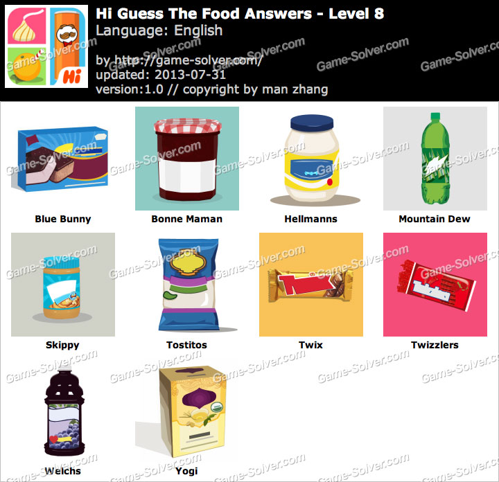 Hi Guess the Food Level 8 - Game Solver