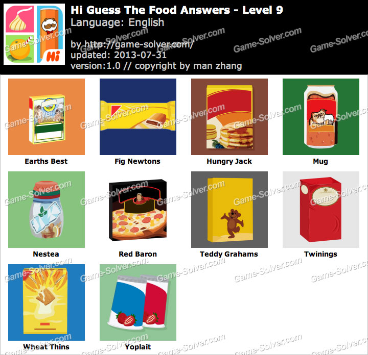 Hi guess the food level 9 game solver for Cuisine quiz