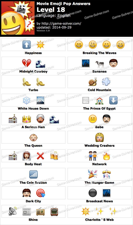 Movie Emoji Pop Level 18 Game Solver