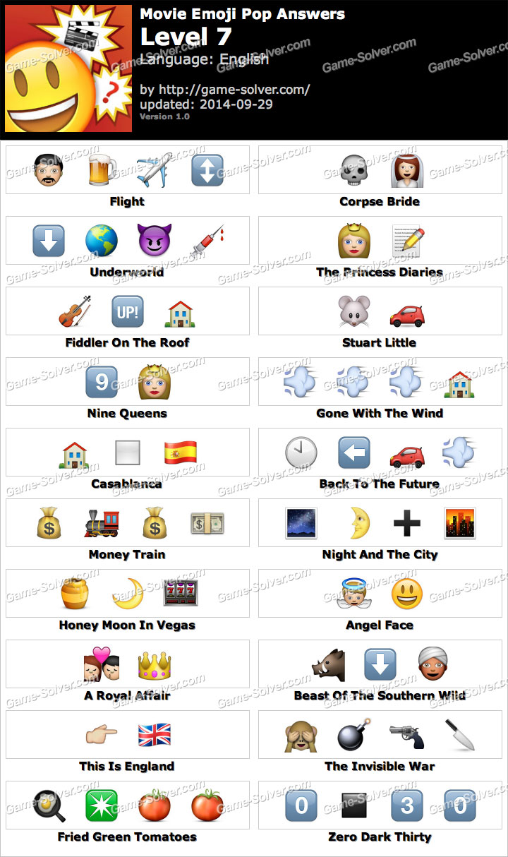Movie <b>Emoji</b> Pop <b>Level 7</b> - <b>Game</b> Solver