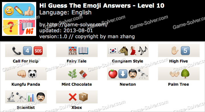 hi guess the emoji level 10 game solver