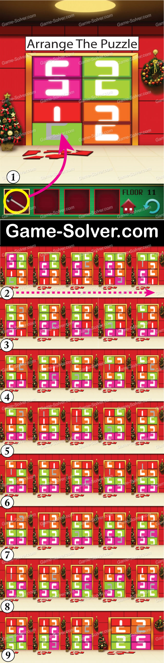 100 Floors Seasons Tower Christmas Level 11 Game Solver