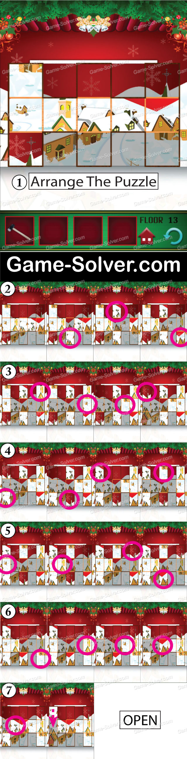 100 Floors Seasons Tower Christmas Level 13 Game Solver