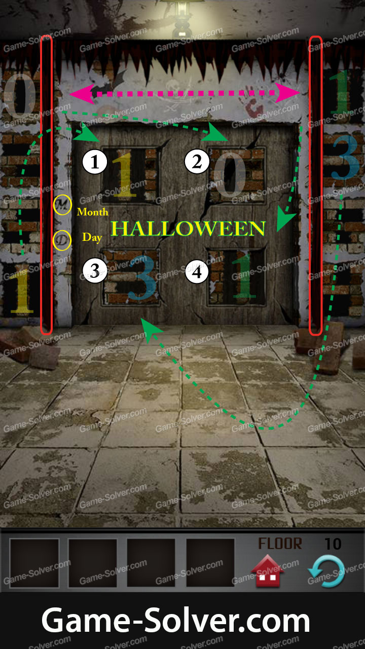 100 Floors Seasons Tower Halloween Level 10 Game Solver