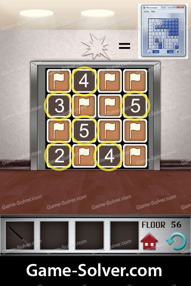 100 Floors Level 56 Game Solver