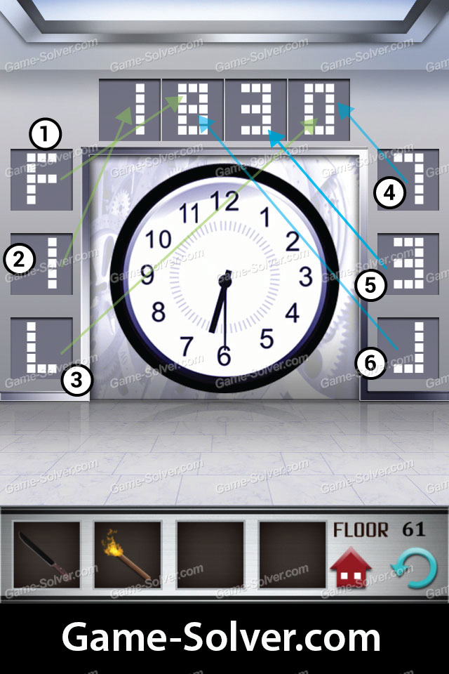 100 Floors Level 61 Game Solver