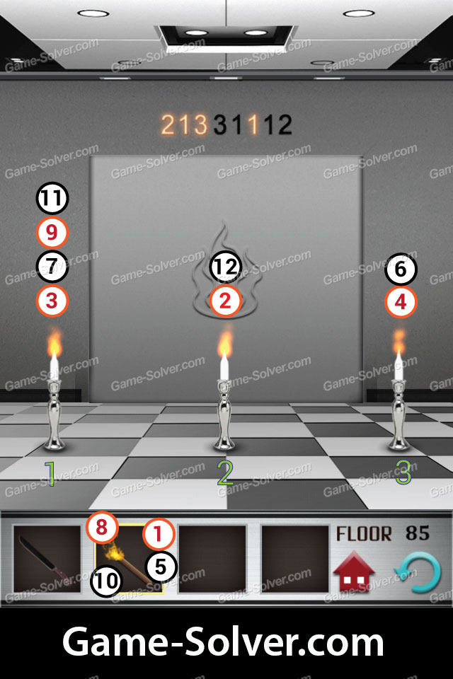 100 Floors Level 85 Game Solver