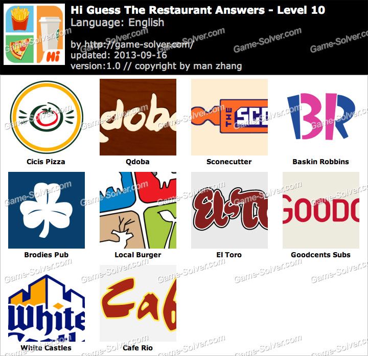 Hi Guess The Restaurant Level 10