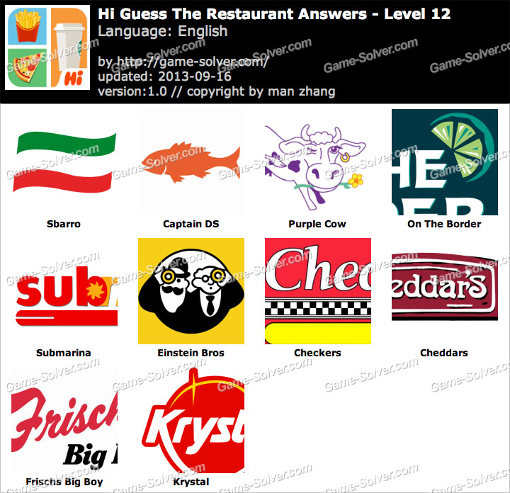 Hi guess the restaurant level 12 game solver
