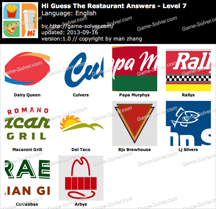 Hi Guess the Restaurant Level 7 - Game Solver