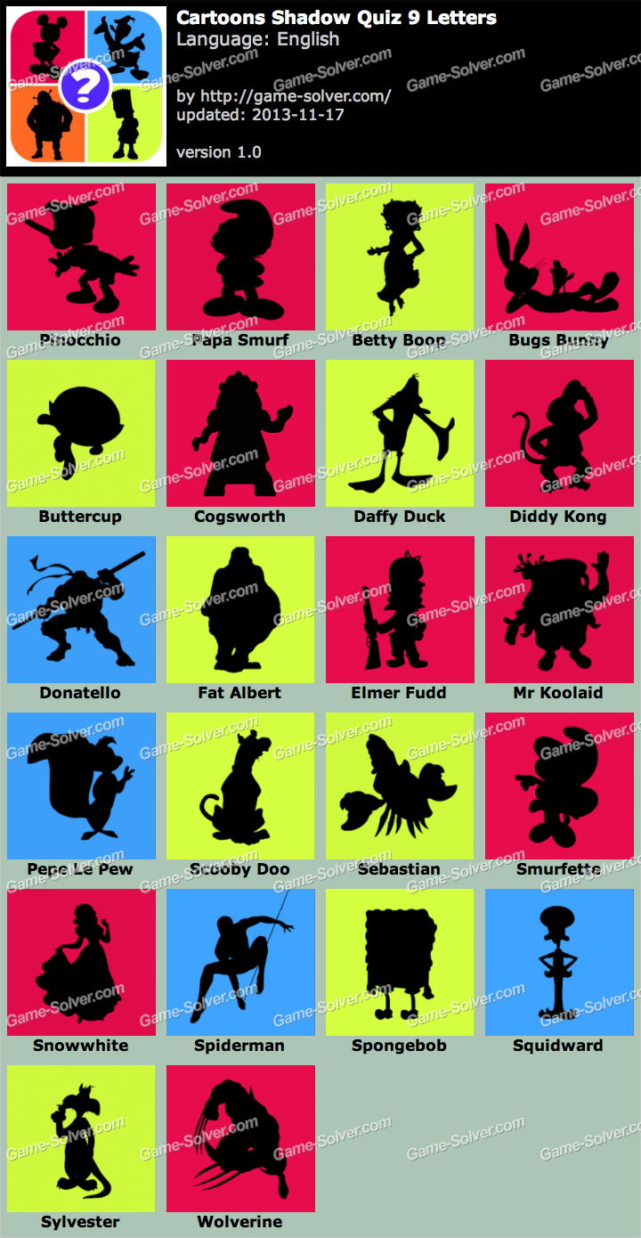 Cartoon Characters With 5 Letters In Their Name : Cartoon silhouette quiz answers fandifavi