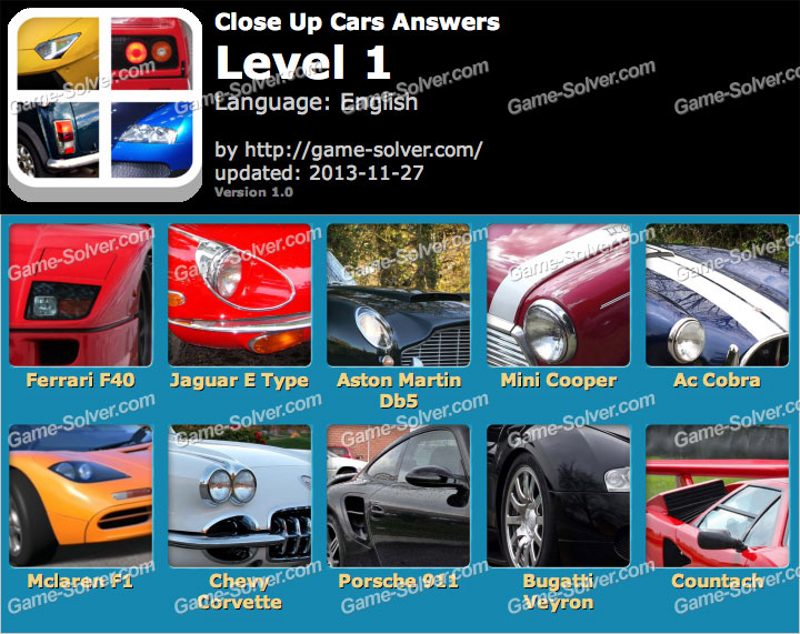 Close Up Cars Level 1