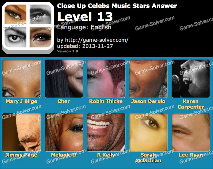 Close Up Celebs Music Star Edition Level 13 Game Solver