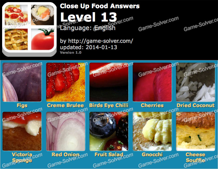 Close Up Food Level 13 Game Solver