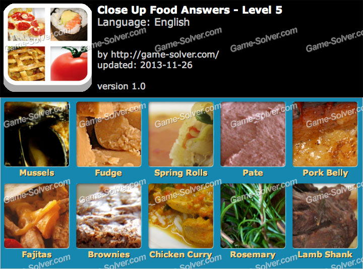 Close up food level 5 game solver